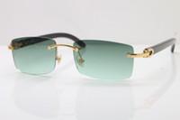 vintage k toptan satış-2019 Toptan 18 K Altın Vintage Güneş kadınlar tasarımcı Çerçevesiz kutusu ile 8200757 Siyah Manda Boynuzu Gözlük Unisex Güneş Gözlükleri