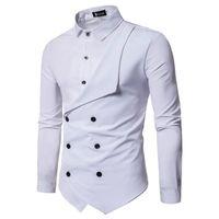 partes superiores à moda da camisa dos homens venda por atacado-Elegante Mens Falso 2 pcs Camisas Double Breasted Designer Camisas Casuais Moda Tops