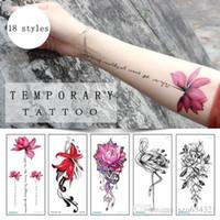 ingrosso gambe tatuate rosa-Sexy Red Rose Design Women Impermeabile Body Art Braccio Tatuaggi Temporanei Sticker Leg Flower Falso Tattoo Sleeve Paper Tip Estate sticker costume da bagno