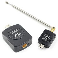hd tuner android toptan satış-Yeni Mini Mikro USB DVB-T tuner TV alıcısı Dongle / Anten DVB T HD Dijital Mobil TV HDTV Uydu Alıcısı Android Telefon için