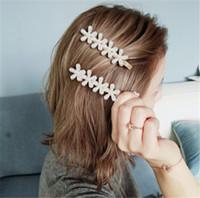 einfache brautschmucksets großhandel-Vergoldete Haarspangen Eleganz Blume Haarnadel Modische Brautschmuck Set Haarschmuck 3 Fairpin Einfache Haarspangen