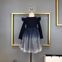adrette abendkleider großhandel-Mädchenkleider Kinder Designer-Kleidung neuer Trend super schöne Sternenhimmel Rock Oberkörper Baumwollgewebe bequem Mädchen Abendkleid