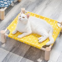 Wholesale lounge hammock resale online - Elevated Cat Bed House Cat Hammocks Bed Wood Canvas Cat Lounge Bed for Small Dogs Rabbit Cats Durable Canvas Pet House Supplies