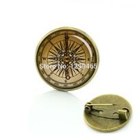 Wholesale luxury compasses resale online - Popular luxury navigator compass badge vintage original compass nautical anchor picture brooches men women accessories T560