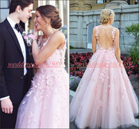 Wholesale navy blue light yellow formal dresses resale online - Exquisite Hollow Floral Beads Prom Dresses Pink Tulle Sheer Lace Black Girl Evening Gowns Guest Wear African Formal Party Robe De Soiree