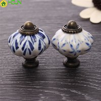 Wholesale blue cabinet handles resale online - Ceramic mm Cupboard Cabinet Knobs Single Hole Blue Leaf Hand Painted Pumpkin Handles Drawer For Furniture Hardware