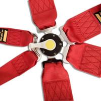 cinturones de seguridad de coche rojo al por mayor-Nuevo 2 piezas 3 '' 6-Point Cam Lock Racing Car Belt Race Safety Correa ajustable Universal Racing Safety Seat Bel SB02 RED