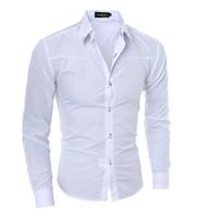mandalina yaka elbiseleri uzun kollu toptan satış-Erkekler Gömlek Yeni Varış Erkek Düz Renk Mandarin Yaka Iş Smokin Uzun Kollu Casual Gömlek Pamuk Gömlekler M-5XL