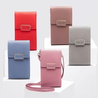 Wholesale Women Leather Wallet Colors PU Zipper Phone Messenger Bag Crossbody Bags Coin Card Purse Outdoor Bag OOA6353