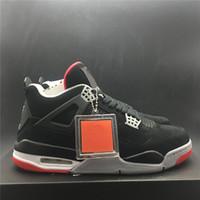 nouvelles chaussures de basketball de marque achat en gros de-Air Bred Basketball Chaussures 4s Chicago Noir Rouge Nouvelle Marque Brand Designer Hommes Athlétique Formateur Sport Sneakers Taille 40-47