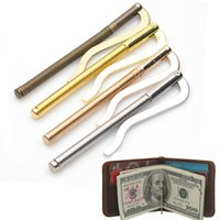 кошельки оптовых-Metal Bifold Money Clip Fashion Simple Clamp Cash Holder Men Women Bar Wallet Replace Parts Spring Clip High Quality