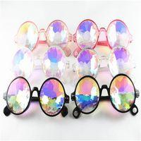 Wholesale color kaleidoscope resale online - Kaleidoscope Sunglasses Kids Retro Geometric Rainbow Lens Sunglass Men Women Fantasy Eyewear Fashion Festive Party Glasses styles GGA2206