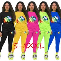 Wholesale woman colorful lips resale online - Colorful Big Lips Designer Women Sweatsuit Tracksuits Autumn Hoodie pullover top Pants brand two pieces set Outfits gym Sportswear C8804