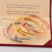 empreintes de clous achat en gros de-Bracelet à ongles pour femme, titane, acier, or rose 18K, lettre, lettre, diamant, dame, mariage, soirée dansante, bracelet