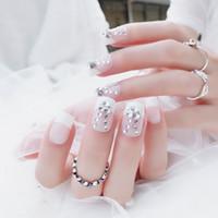 поддельные свадебные ногти оптовых-wedding nail tip False Nails for bride Fashion French Finger artificial nails shiny Crystal Rhinestone Full Cover Tips Fake Nail