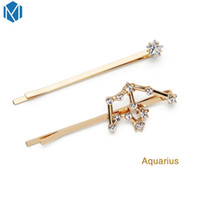 Wholesale womens barrettes for sale - Group buy 2pc set Fashion Girls Twelve Constellation Barrette Rhinestone Hair Clips For Womens Crystal Hairpins Metal Haar Accessoires