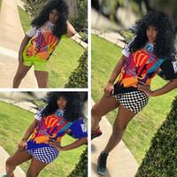 chemises de rappeur achat en gros de-Nipsey Hussle Print 2 Piece Woman Set Damier Survêtement Graffiti Rapper T-shirts + grille Short Tenues Décontractées Mode Streetwear C7803