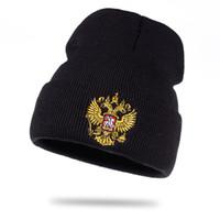 ingrosso beanies blu giallo-La fabbrica vende direttamente berretti a maglia russi caldi in cotone caldo di alta qualità unisex donna flessibile cappelli da uomo caldo cappello invernale