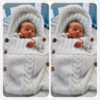 neugeborene wickeltücher großhandel-Baby Schlafsäcke gestrickte Decken Neugeborenen handgefertigt Kleinkind Winter Wraps Foto Windeln Kindergarten Bettwäsche Kinderwagen Cart Save Swaddle Robes
