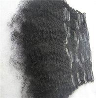 ingrosso estensioni dei capelli del getto nero-Jet Black Colore Afro Kinky Brasiliano Remy Clip nelle estensioni dei capelli 100% capelli umani Weva 100 g / Set 9 pezzi 6a Clip nella tessitura dei capelli