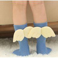flügel tragen großhandel-Baby-Strumpf Angel Wings Socke Frühlings-Herbst-Baumwollkind-Hoch Mädchen Beinwärmer Kinder fußabnutzung Strick Lange Strümpfe