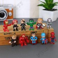 figura de acción de batman pvc al por mayor-Marvel Los Vengadores SpiderMan Iron Man Superman Batman Superhéroe muñeca acción del PVC calcula los juguetes de los niños decorativos