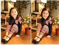 süße hosen großhandel-2 teile / satz Kleinkind Kinder Baby Mädchen Outfits Süße Kleidung Bogen Gestreiftes T-Shirt Tops + Leggings Hosenanzug