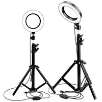 Wholesale phone holder with light online – LED Ring Light Youtube Live Streaming Makeup Fill light Selfie Ring Lamp Photographic Lighting with Tripod Phone Holder USB Plug