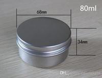 depilación de labios al por mayor-Frasco de aluminio contenedor 50ml 60ml 80ml 100ml 120ml 150ml bote cosmético de aluminio estaño bálsamo de labios de cera de metal lata Contenedor de cajas redondas