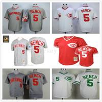 ingrosso l orologio-Grigio 1969 Johnny Bench Authentic Jersey Uomo Donna Cucita # 5 Mitchell E Ness Ci Reds 1990 Turn Back The Clock Baseball