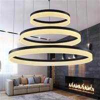 modern avize dairesi toptan satış-Halkaları Halkaları Akrilik LED Kolye Işıkları Modern yuvarlak yüzük LED avize ışık oturma yemek odası süspansiyon asılı lamba