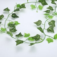 Wholesale silk wall ivy for sale - Group buy Artificial Leaves Plastic Plant Vine Wall Hanging Green Silk Rattan Fake Leaves Green Plant Ivy diy Home Garden Party Decor NEW