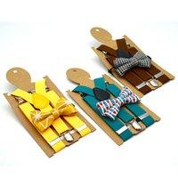 verstellbare clips für hosenträger großhandel-Kind-justierbarer Gitter-Hosenträger-Art- und Weisebaby-Normallack-Klammern-Kind-Bügel-Klipp mit bunter Fliege TTA1327
