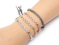 Magic Magic Shop Cool Summer Bangle Zircon Stoppers Bangle Bracelets Micro Pave CZ Beads Braiding Macrame Bracelets