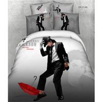 película tamaño queen al por mayor-Ms.O 3D Print Juego de funda nórdica tamaño Queen Star Star Marilyn Monroe Michael Jackson Juego de cama Juego de sábanas de algodón Juego de sábanas Ropa de cama