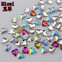 Micui 100PCS 6 7mm Heart Non HotFix Flatback Crystals Glass Rhinestones  Stones Nail Rhinestone Strass DIY Clothes Applique ZZ711 f27d8c60b6c6
