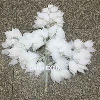 weiße pflanze für hausdekoration großhandel-24 stücke Dekor dekorative Pflanzen weiße seide künstliche pflanzen verlässt dekoration blätter hochzeit bogen vintage liefert