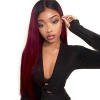 Wholesale blue ombre brazilian hair resale online - Brazilian B99 Burgundy Red Ombre Lace Frontal Wig Pre Plucked Straight Blue Colored Lace Front Human Hair Wigs Remy