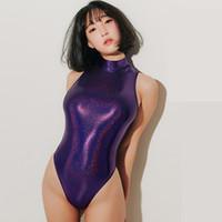 traje de baño sexy japonés al por mayor-Traje de baño sexy japonés de una sola pieza traje de baño de color púrpura pierna alta brillante Sukumizu ajustado traje de baño cosplay cuello alto Y19062901
