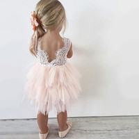 Wholesale trendy baby girl clothing resale online - Trendy Toddler Baby Girls Dress Summer Girl Clothes Floral Printed Back V Dress Girls Kids Vest Halter Infant Party Wear