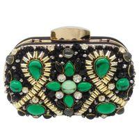 ingrosso borsa da sera nera in rilievo-Verde smeraldo e nero perline donne sera frizione festa di nozze cena borse e borsette tracolla a catena