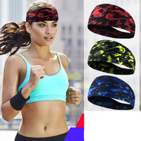 turbante de yoga al por mayor-Mujeres Yoga Fitness Sweatband New Wide Sports turbante diadema estiramiento elástico Yoga Running Headwrap accesorios para el cabello # 134656