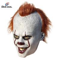 máscara de pennywise al por mayor-Stephen King's It Pennywise Látex Halloween Máscara Cosplay Payaso Payaso Máscara Prop Q190524
