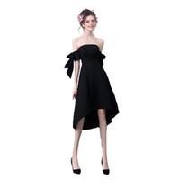 bir omuz küçük siyah elbiseler toptan satış-Seksi gece elbisesi 2019 yeni Hepburn askısız küçük siyah elbise tek omuz siyah kokteyl elbisesi