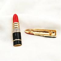 ingrosso spilla rossetto-Nuovo designer femminile strass labbra rossetto spilla alta qualità marchio spilla regalo di gioielli amore di alta qualità