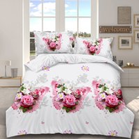 Wholesale bedspreads ruffle resale online - 3D Flower Butterfly Print Pillowcase Duvet Quilt Bedlinen Cover set winter Flat Sheet queen king size bedspread Bedding Set