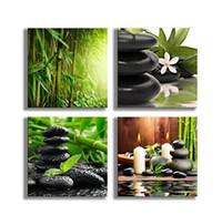 peintures zen achat en gros de-Peintures Bambou Vert Photos avec Zen Pierre Bougies Fleur Imprimer sur Toile Mur Art pour Décoration de la Maison Salle De Bain Salon