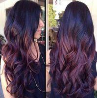perücke weibliche lange haare großhandel-Europäische und amerikanische Perücke Weinrot Burgund Langes lockiges Haar Synthetische Mode Perücke Ombre Farbe Weiblich