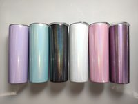 Wholesale rainbow cups for sale - Group buy Sublimation oz Skinny Tumblers Rainbow Stainless Steel Water Flask Double Wall Vacuum Drinking Cup Insulated Coffe Mug With Lid A02