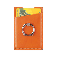 Wholesale retail packaging cell phone cases online – deals PU Leather Cell Phone Wallet Pocket Pouch Card Holder With Ring Stand for Mobile Devices Adhesive Sticker Back With Retail Packaging